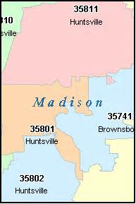 Madison Zip Code Map by Madison County Alabama Digital Zip Code Map