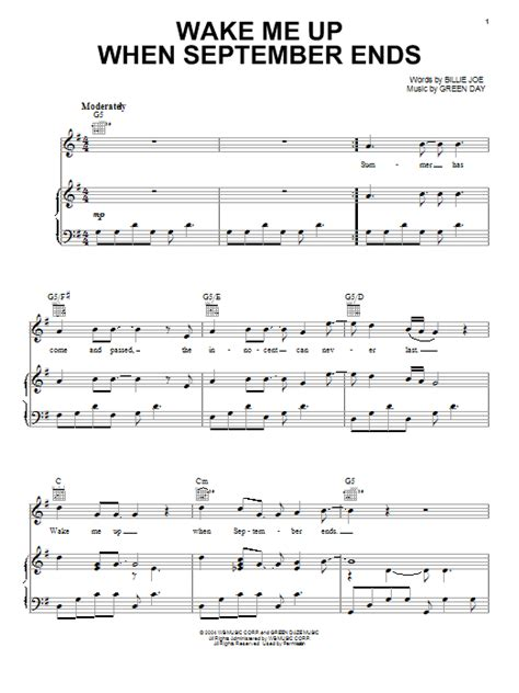 tutorial piano wake me up wake me up when september ends sheet music by green day