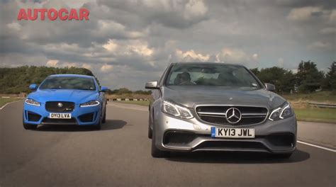 mercedes e 63 amg vs jaguar xfr s by autocar