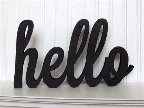 Handmade Word - hello wood word sign handmade wood sign by thewoodencranberry