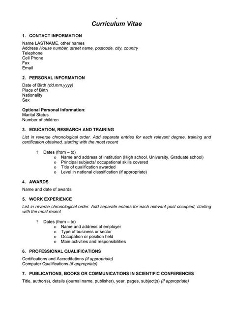 Basic Cv Format by Easy Curriculum Vitae Format Template Exle 2017 Basic