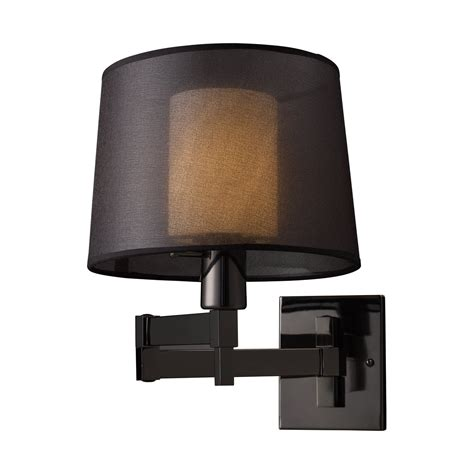 Black In Wall Sconce Elk Lighting 10110 1 Swingarm 1 Light Swing Arm Wall