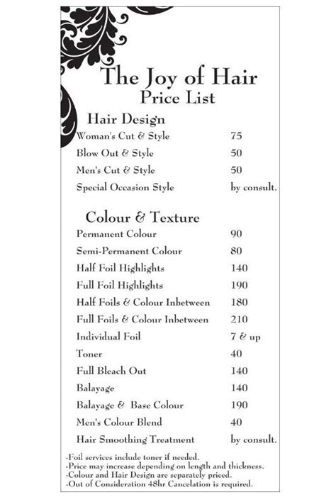regis uxbridge haircuts price list regis price list on length regis salon service menu