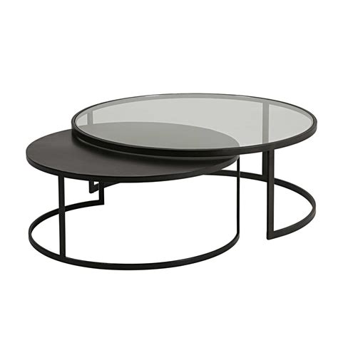 set of 2 tempered glass and black metal nest of coffee