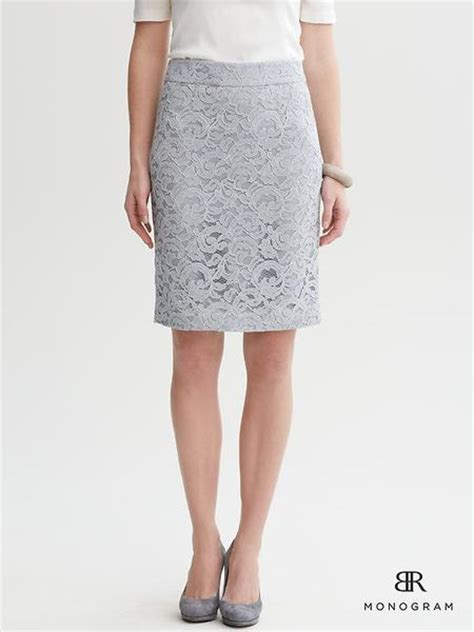 banana republic br monogram lace pencil skirt in gray
