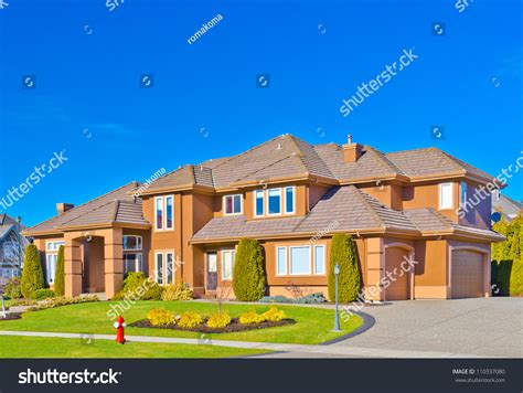 houses with big garages custom built big luxury house triple stock photo 110337080