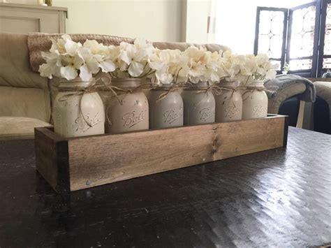 rustic wood home decor jar centerpiece jar planter box farmhouse decor