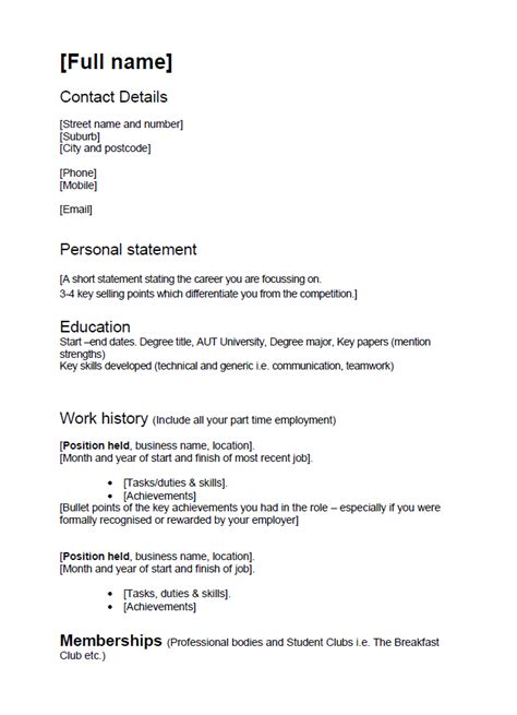 Cv Template Nz For Students Planner Template Free Cv Template Nz