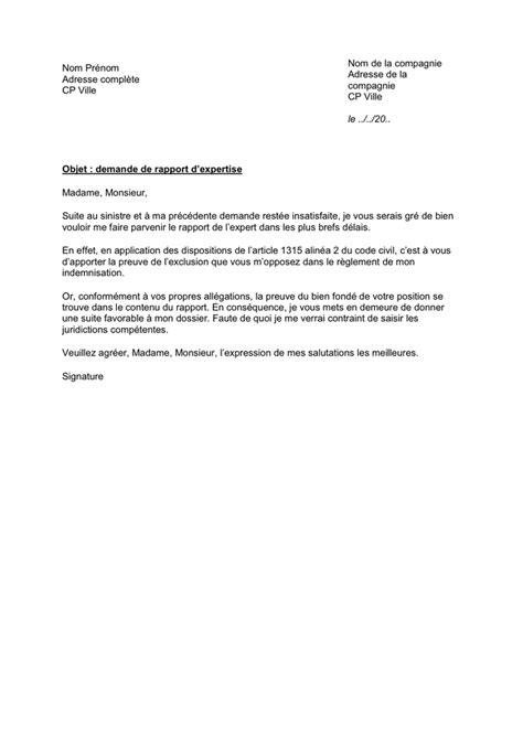 Lettre de demande de rapport d'expertise - téléchargement