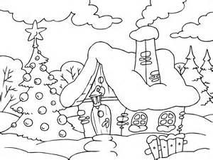 imagenes para colorear para navidad casa estrellas para