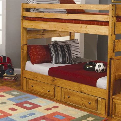 bunk bed with desk dresser and trundle coaster wrangle hill full over full bunk bed with pull out