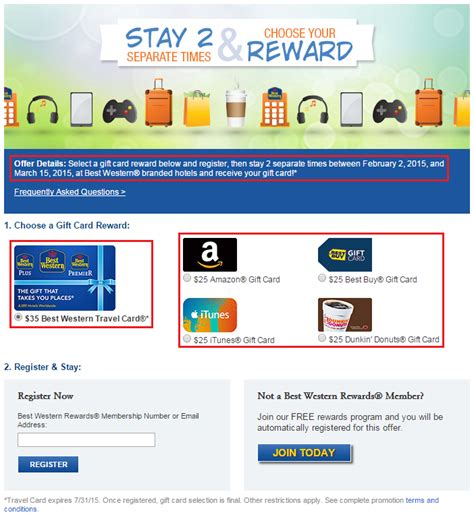 Best Western Gift Card - receive a 35 best western gc or 25 amazon gc after 2 stays at best western