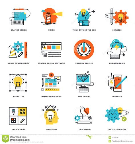 process design tools set of flat line design icons of graphic design tools and