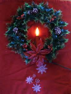 vintage christmas wreath with electric candle 1950s