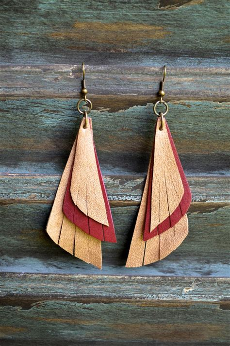 Handmade Leather Earrings - handmade leather earrings make it jewelry