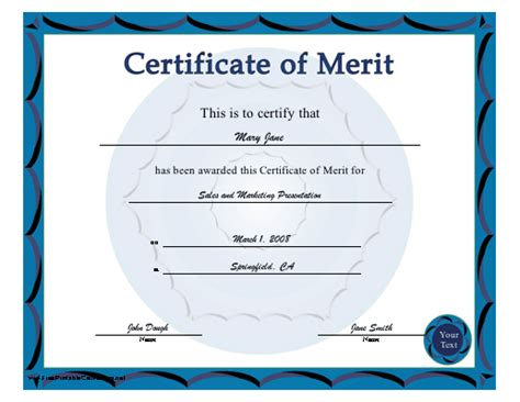 Certificate Of Merit Template merit certificate sles cake ideas and designs