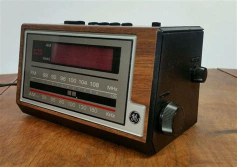 tested vintage retro wood grain 80s ge alarm clock radio digital mid century ebay