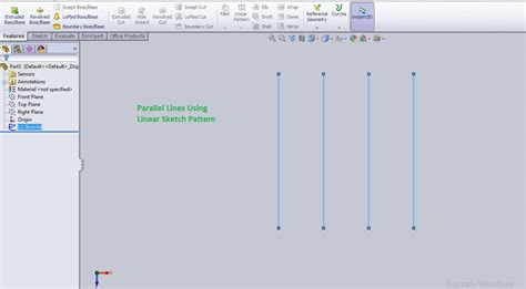 linear sketch pattern y axis how to use solidworks linear sketch pattern tool