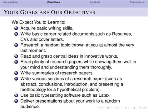 outline your career goals and objectives research methods objectives and contents