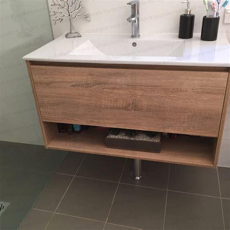 600mm white oak timber wood grain wall hung vanity