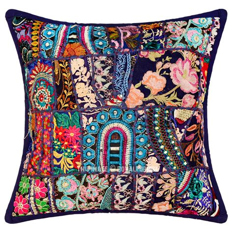 Handmade Decorative Pillows - 16 quot inch blue multi decorative handmade patchwork throw