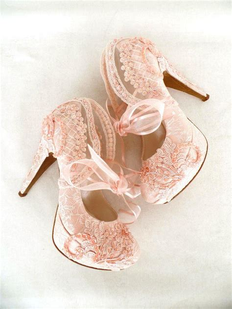 Blush Bridesmaid Shoes by Blush Embroidered Lace Bridal Shoes With Ribbons 5 Quot Heels