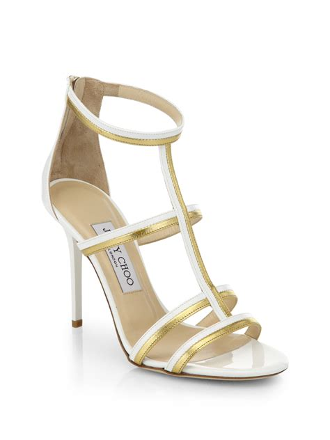 jimmy choo gold sandals jimmy choo thistle patent metallic leather sandals in gold