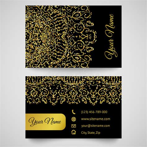 Golden Business Card Template by Business Card Template Golden Pattern On Black Background