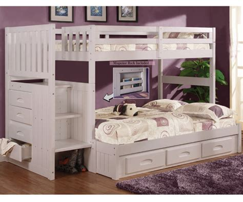 white bunk beds with stairs discovery world furniture white twin full staircase bunk