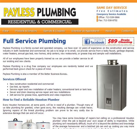webpages payless plumbing webpages