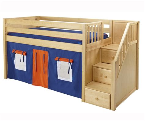 Wooden low loft bunk bed for kids with tent and stairs storage