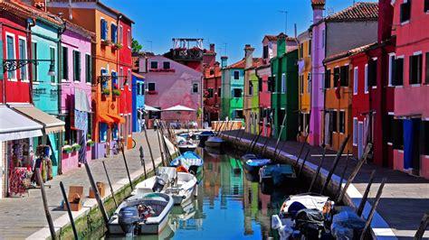 Colorful Beach Houses Venice Italy Burano Island Wallpaper Architecture