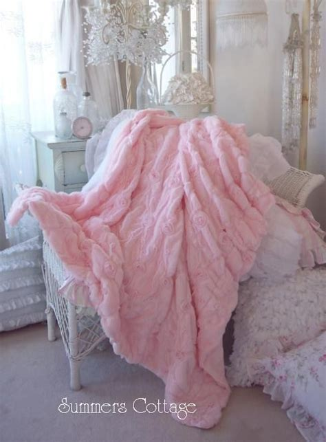 Shabby Chic Throws Shabby Baby Pink Fur Satin Ribbon Ruffle Roses Chic Throw