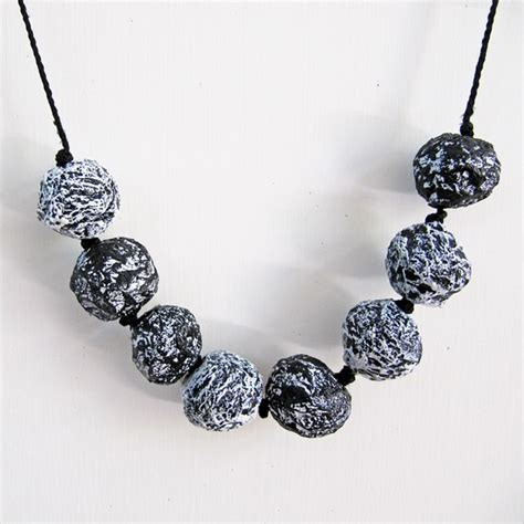 Jewellery Using Paper - black and white necklace paper mache jewelry fall jewelry