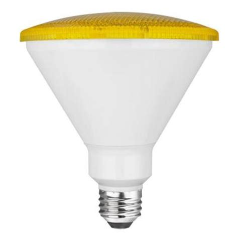 Led Bug Light Bulb Tcp 17w Equivalent Par38 Bug Light Non Dimmable Led Light Bulb Yellow Rlp3817wy The Home Depot