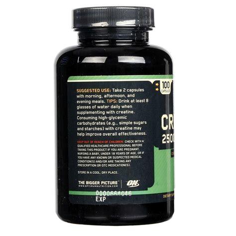 creatine vitamins optimum nutrition creatine 2500 mg 100 capsules
