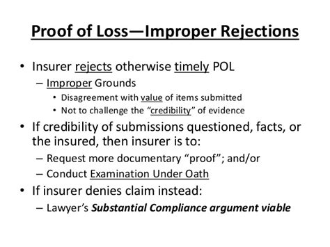 Documents Required For Mba Proof by Presentation Proof Of Loss The Road To Bad Faith