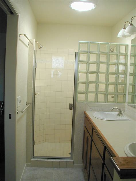 glass block shower partial wall could substitute shower curtain for door bathroom