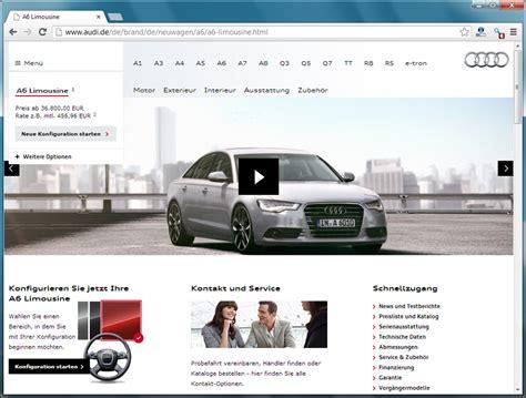 Alter Audi Konfigurator by Neues Markenportal Audi Live Wo Ist Der Konfigurator