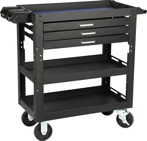 Service Cart With Drawers by 3 Shelf 3 Drawer Steel Service Cart Princess Auto