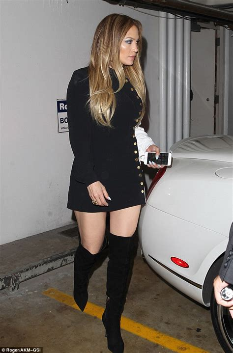 2016 Boots Wedges Jlo Imitasi wears mini dress and thigh high boots to