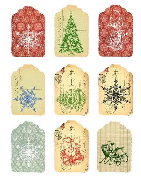 free christmas tags vintage printable christmas