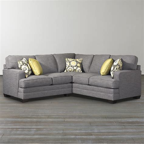 Small Grey L Shaped Couch With Arms And Wooden Legs For