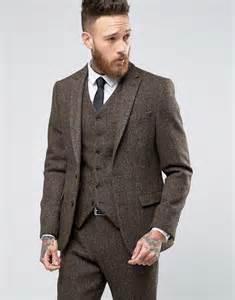 Suits asos slim suit jacket in brown harris tweed herringbone 100 wool