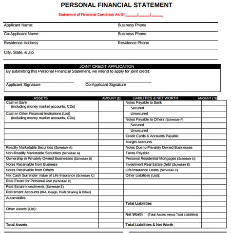 sle personal financial statement form 7