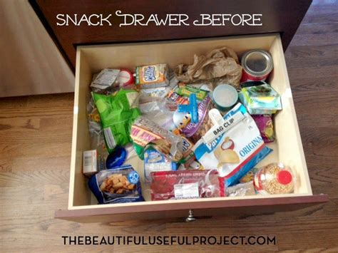 10 minutes of decluttering the snack drawer before and