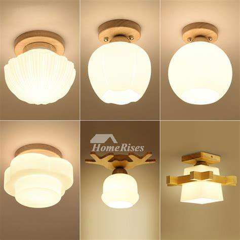 cheap ceiling lights wood glass metal semi flush for