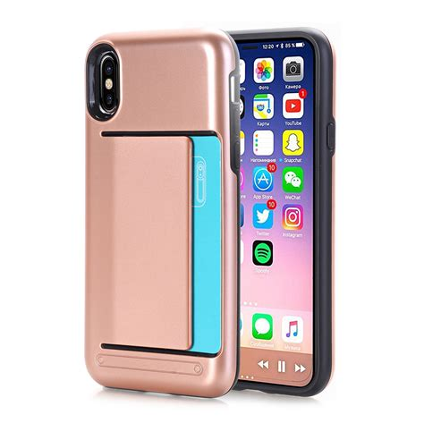 apple x case for apple iphone x case dual layer wallet design w card
