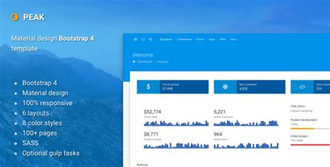Peak Material Design Bootstrap 4 Admin Template By Batchthemes Themeforest Bootstrap Material Design Admin Template