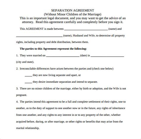 marriage separation agreement template agreement template 20 free word pdf documents